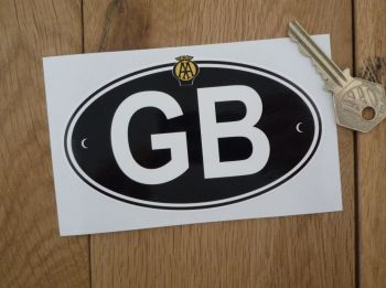"GB Old AA White on Black ID Plate With Rivets Sticker. 3"" or 5""."