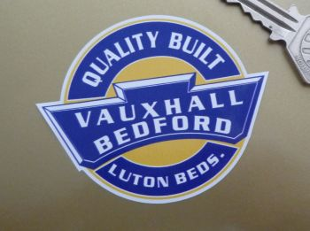 "Vauxhall Bedford Quality Built Static Cling Window Sticker. 3""."