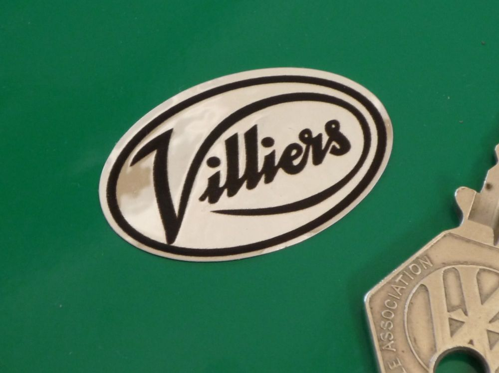 "Villiers Black & Foil Oval Stickers. 1.5"" Pair."