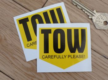"TOW Carefully Please Arrow Shaped Stickers. 2.5"" Pair."