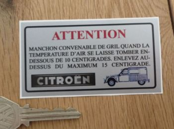 "Citroen 2CV Van AZU AK400 Air Temperature Grill Sticker. 3.5""."