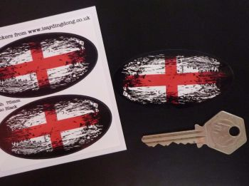 "English St George's Cross Flag Fade To Black Oval Stickers. 3"" Pair."