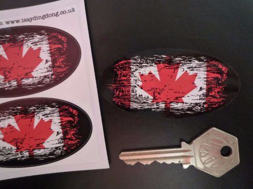 Canadian Maple Leaf Flag Fade To Black Oval Stickers. 3