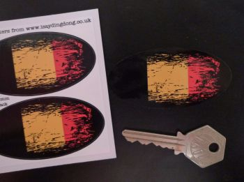 "Belgian Tricolor Flag Fade To Black Oval Stickers. 3"" Pair."
