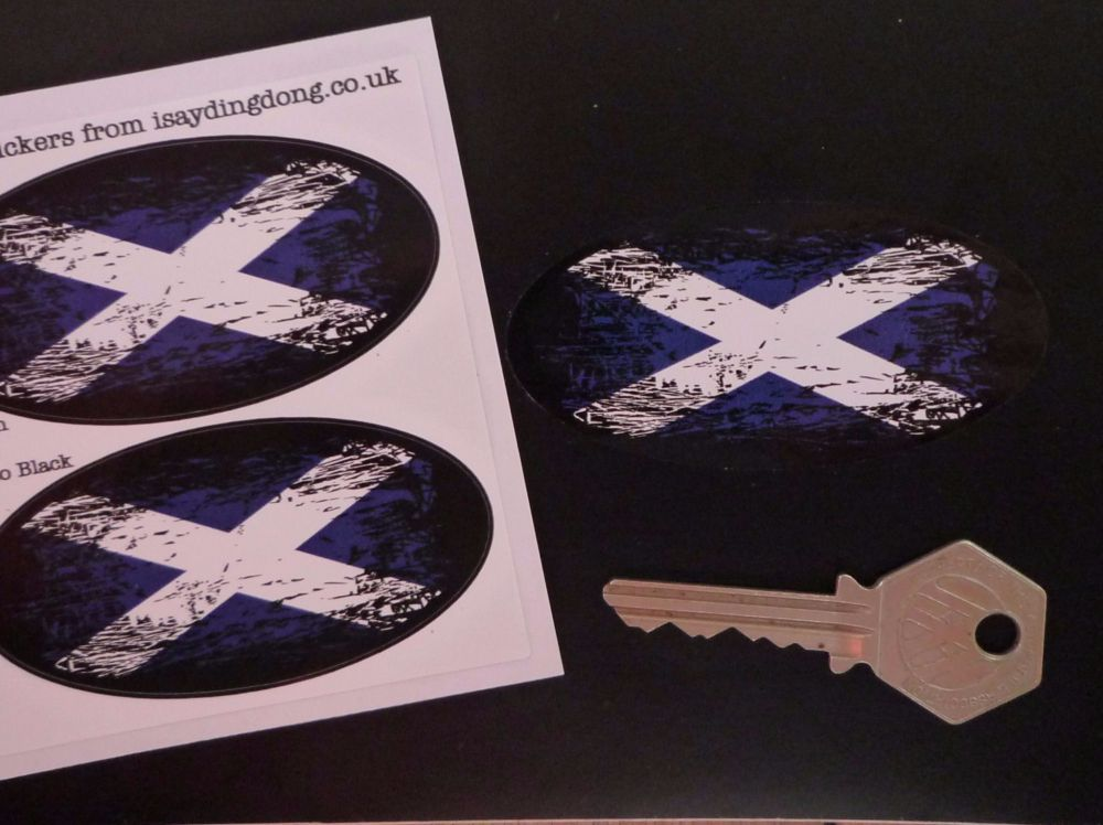 "Used Cars Scotland >> Scottish Saltire Flag Fade To Black Oval Stickers. 3"" Pair."