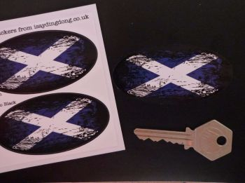 "Scottish Saltire Flag Fade To Black Oval Stickers. 3"" Pair."