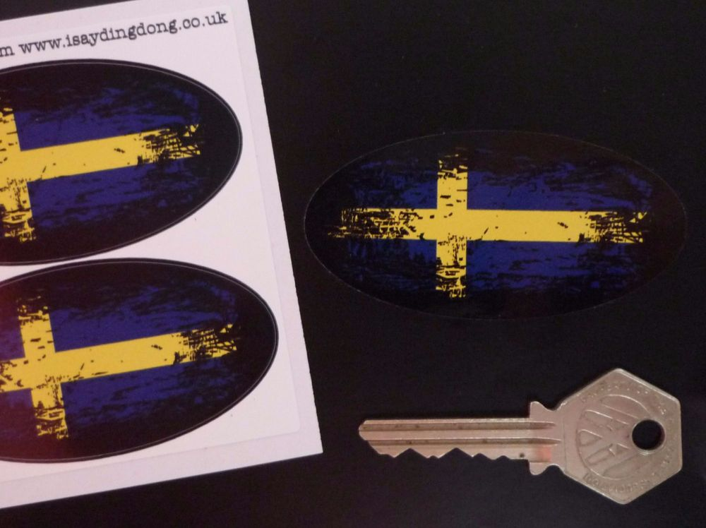 """Swedish Flag Fade To Black Oval Stickers. 3"""" Pair."""