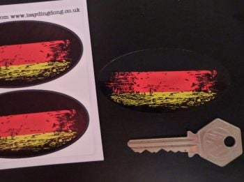 "German Tricolour Flag Fade To Black Oval Stickers. 3"" Pair."