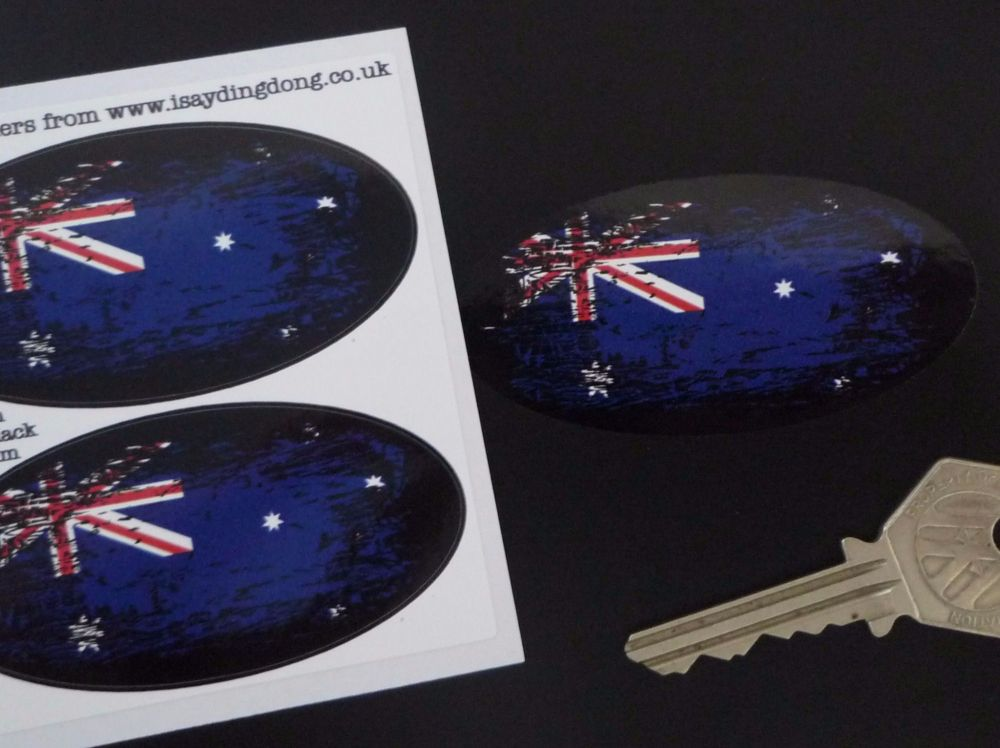 "Australian Flag Fade To Black Oval Stickers. 3"" Pair."