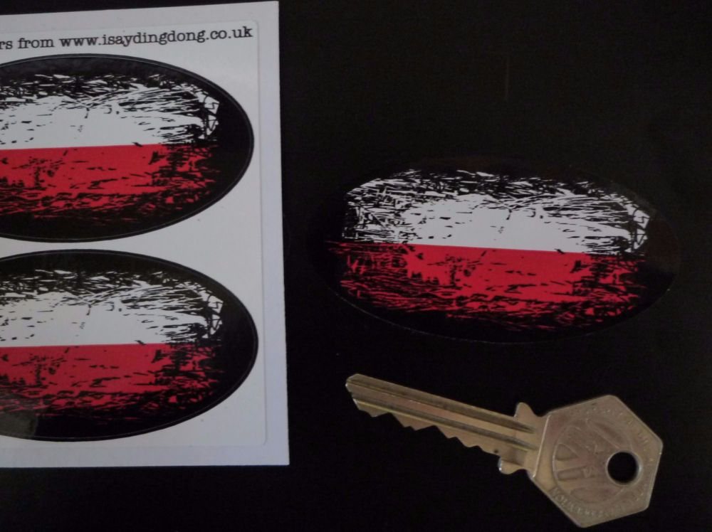 """Polish Flag Fade To Black Oval Stickers. 3"""" Pair."""