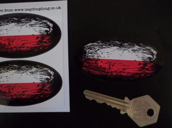 "Polish Flag Fade To Black Oval Stickers. 3"" Pair."