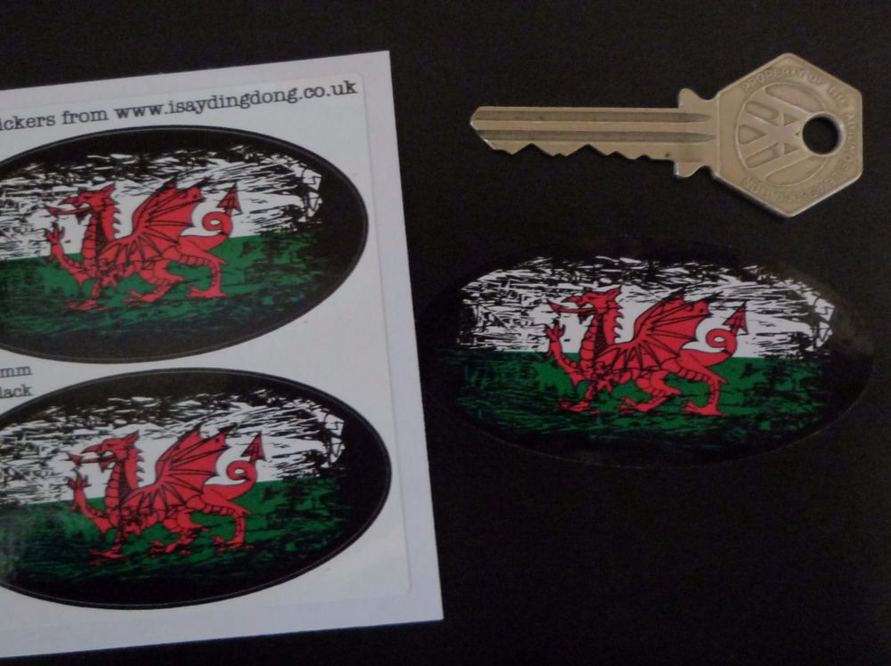 """Welsh Dragon Flag Fade To Black Oval Stickers. 3"""" Pair."""