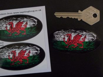 "Welsh Dragon Flag Fade To Black Oval Stickers. 3"" Pair."