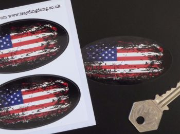 "USA American Stars & Stripes Flag Fade To Black Oval Stickers. 3"" Pair."