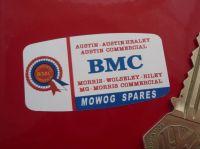"""BMC Mowog Spares Listed Brands Sticker. 2""""."""