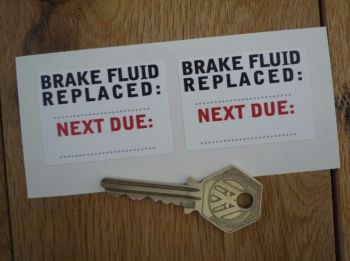 "Brake Fluid Replaced Service Stickers. 2"" Pair."