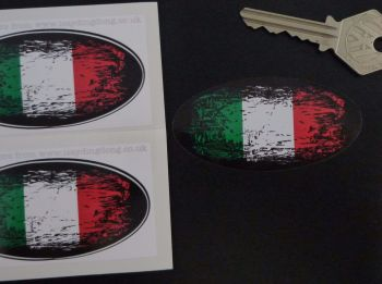 "Italian Tricolore Flag Fade To Black Oval Stickers. 3"" Pair."