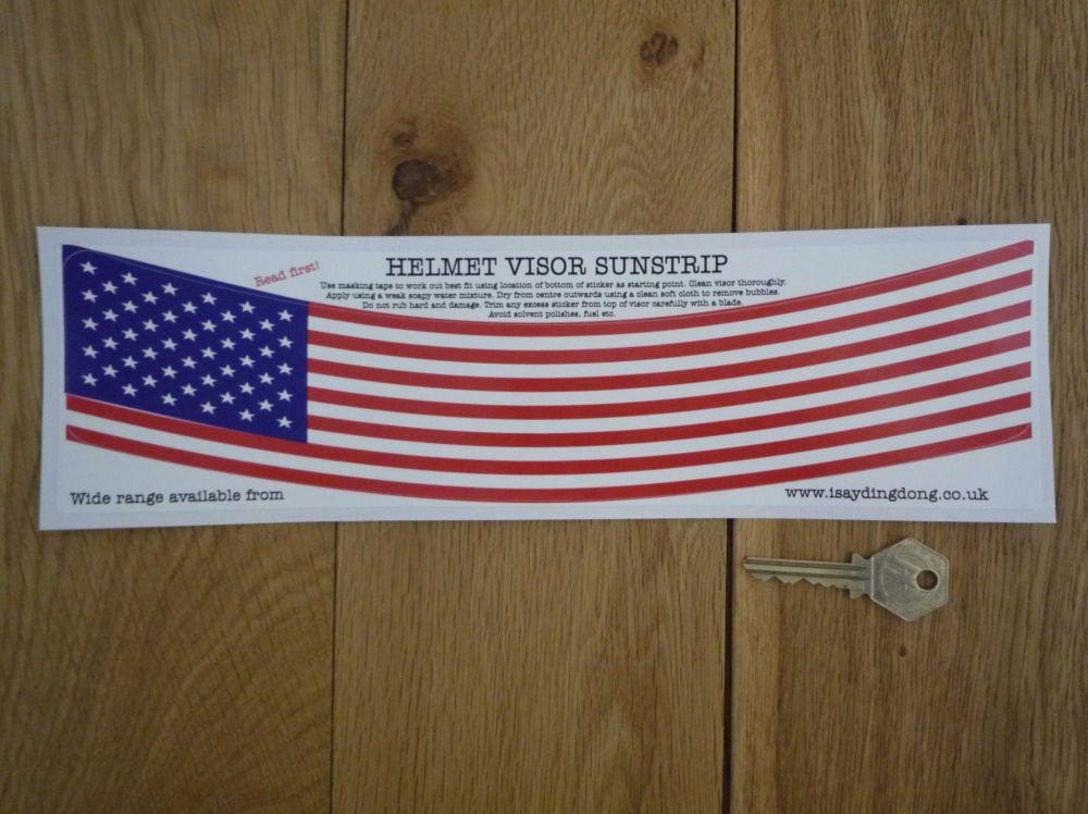 """USA Stars & Stripes Flag Style Helmet Visor Sunstrip Sticker. 12""""."""