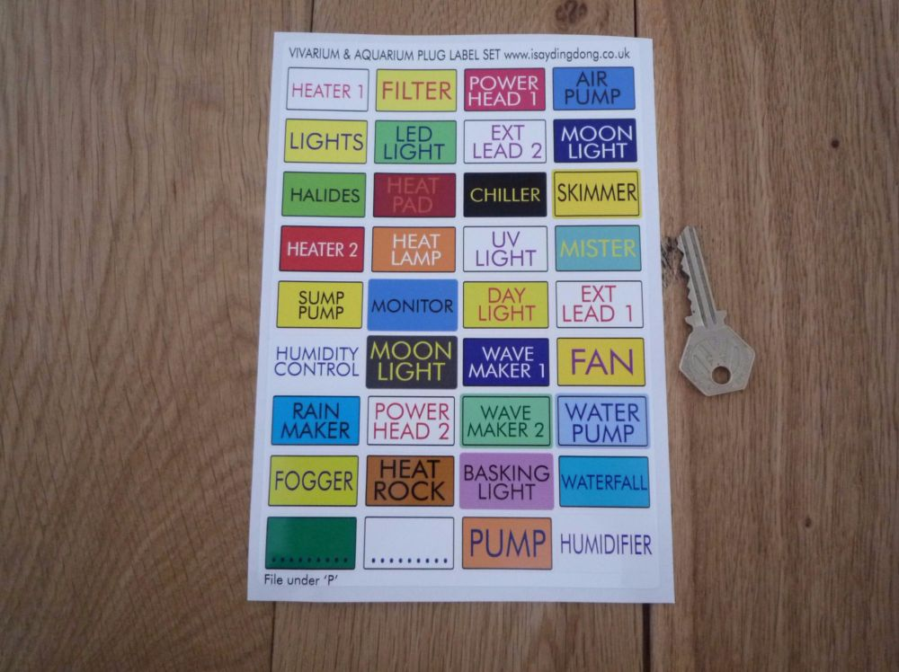 Vivarium & Aquarium Plug Labels. Help Identify Which Plug's Which. A5. Set of 36.
