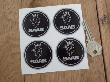 Saab Wheel Centre Style Black & Silver Stickers. Set of 4. 50mm or 60mm.