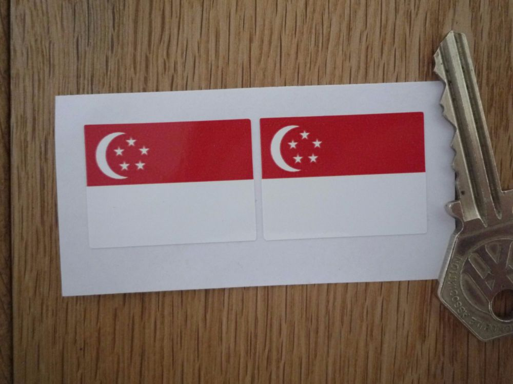 Singaporean Flag Oblong Singapore Stickers. 33mm Pair.