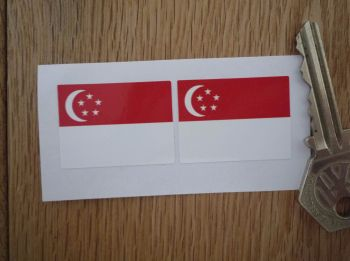 Singaporean Flag Oblong Singapore Stickers. 33mm Pair.
