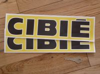 Cibie Black & White Text on Yellow Wide Style Oblong Stickers. 13