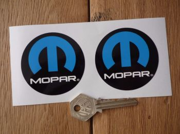 Mopar Circular Blue, Black, & White Stickers. 60mm Pair.