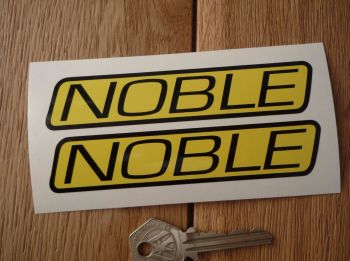 "Noble Yellow & Black Slanted Oblong Text Stickers. 4.75"" Pair"