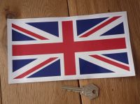 "Union Jack Full Colour Thin Oblong Sticker. 6"" or 8""."