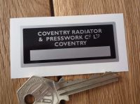 "Coventry Radiator & Presswork Sticker. 2.5""."