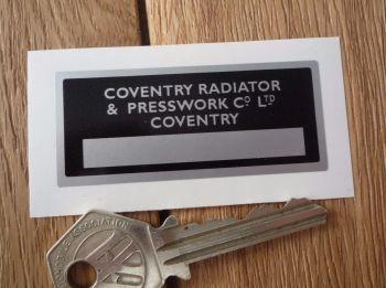 "Coventry Radiator & Presswork Sticker. 2.5""."