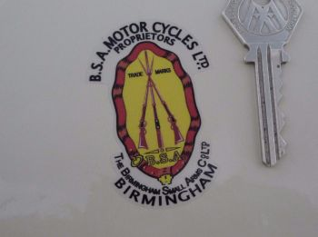 """BSA Piled Arms Stickers. Simple Cut. For Light Background. 2"""" or 2.5"""" Pair."""