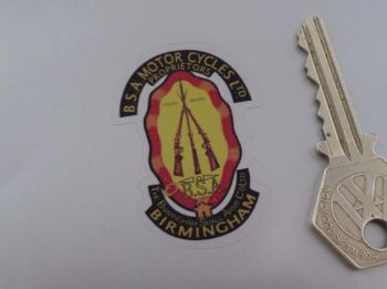 """BSA Piled Arms Stickers. Detail Cut. For Light Background. 2"""" or 2.5"""" Pair."""