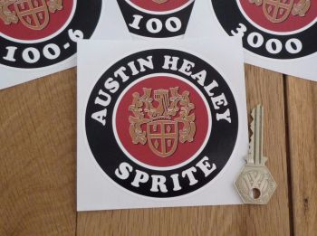 "Austin Healey Crest Model Specific Circular Sticker. 4""."