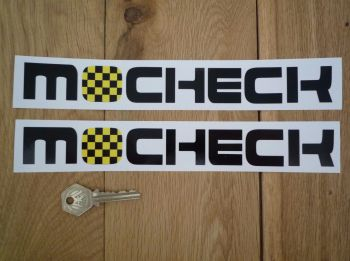"Mocheck Yellow & Black Check Style Dealers Stickers. 10"" Pair."