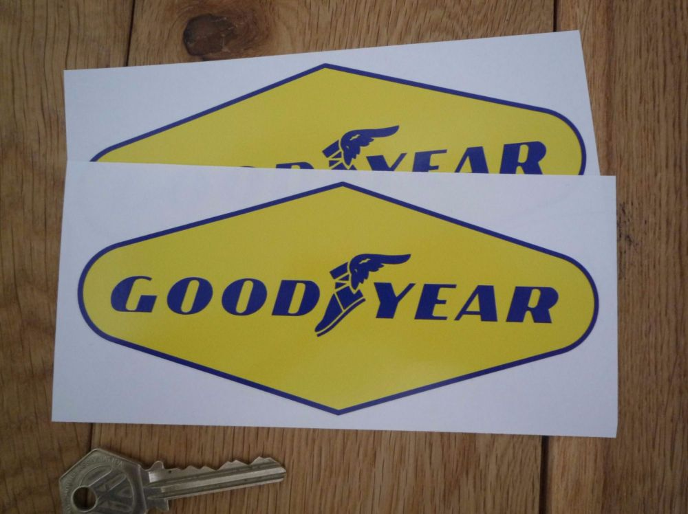 "Goodyear Blue on Yellow Diamond Stickers. 6"" Pair."