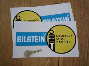"Bilstein German Text Gasdruck Stoss Dampfer Narrow Handed Stickers. 8.5"" Pair."
