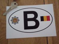 B Belgium Flag & Automobile Club Logo ID Plate Sticker. 6