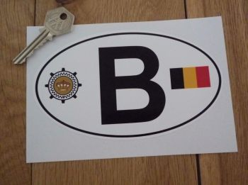 "B Belgium Flag & Automobile Club Logo ID Plate Sticker. 6""."