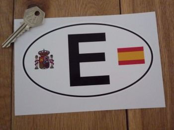 "E Spain España Flag & Coat of Arms ID Plate Sticker. 6""."