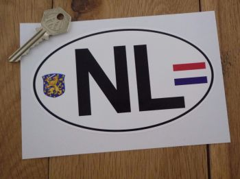 "NL Netherlands Dutch Flag & Coat of Arms ID Plate Sticker. 6""."