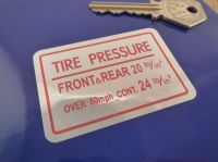 Honda S800 Tire Pressure Sticker. 2.5