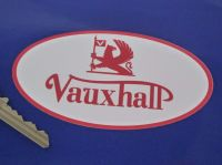 """Vauxhall Old Style Red & White Oval Sticker. 4.5""""."""