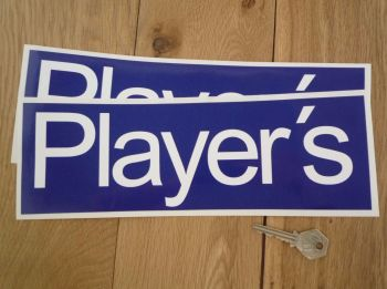 "Player's Blue & White Oblong Stickers. 11.75"" Pair."