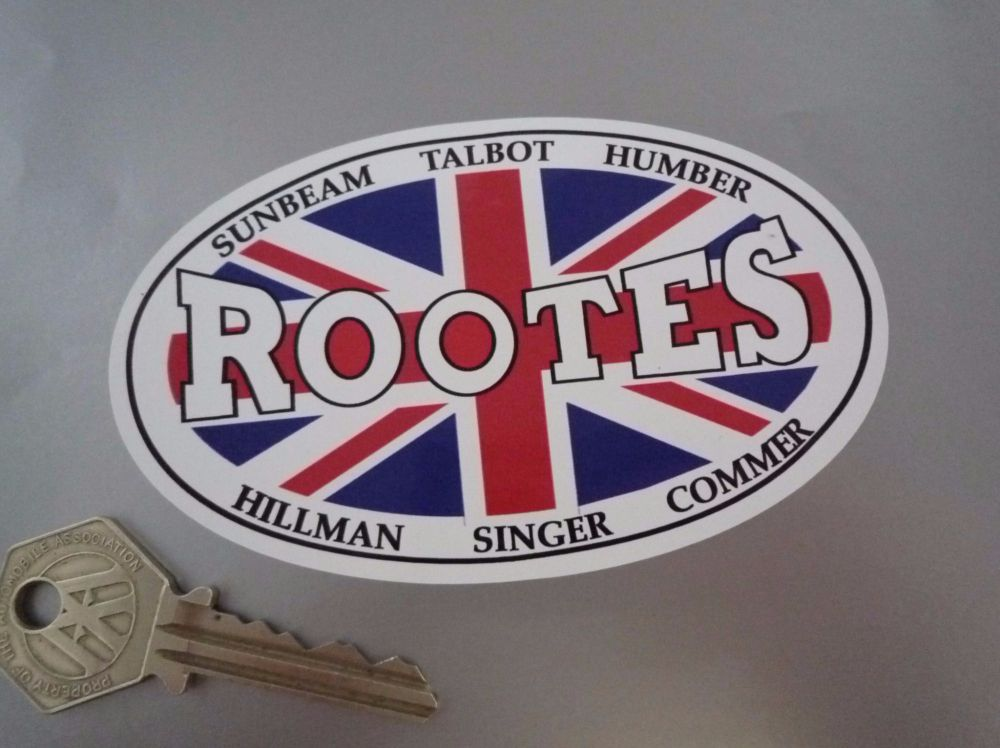 "Rootes Union Jack Oval Sticker. 4.5""."