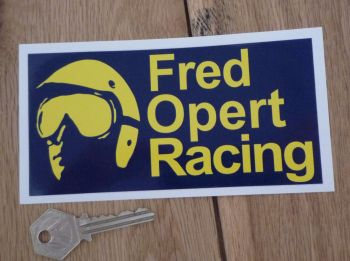 "Fred Opert Racing Blue & Yellow Oblong Sticker. 6""."