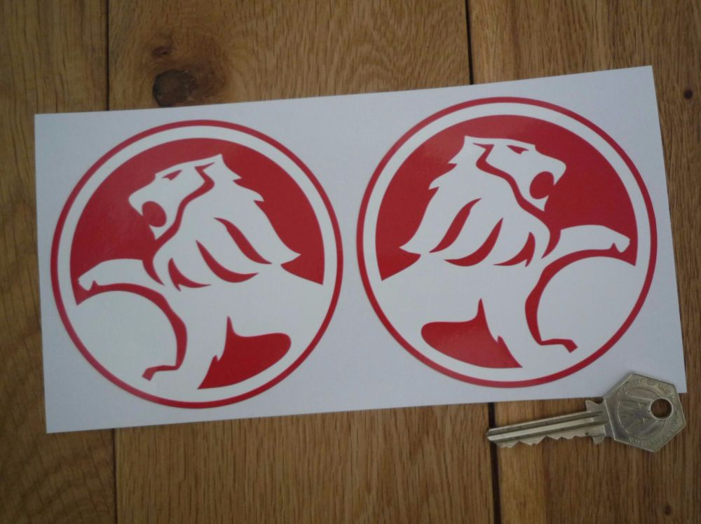 """Holden Circular Red & White Handed Stickers. 4"""" Pair."""