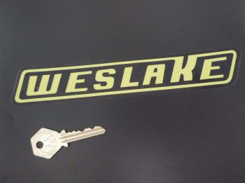 "Weslake Yellow & Clear Slanted Oblong Stickers. 8"" Pair."