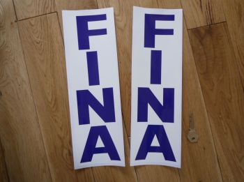 "Fina Blue & White Vertical Oblong Text Stickers. 13"" Pair."